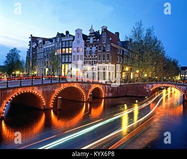 Prinsengracht at dusk, Amsterdam, Holland, Netherlands. - Stock Photo