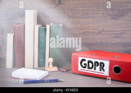 General Data Protection Regulation . Binder on desk in the office - Stock Photo