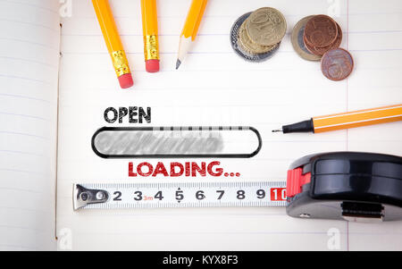 Open, Shop Store Concept. Stationery and notebook, business background - Stock Photo