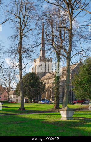 Stowmarket church, view of the churchyard and west tower of the medieval Church of St Peter and St Mary in Stowmarket, - Stock Photo