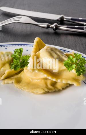 Pasta homemade handmade Ravioli - Stock Photo