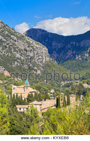 View of Valldemossa village, Valldemossa, Mallorca, Balearic Islands, Spain, Europe - Stock Photo