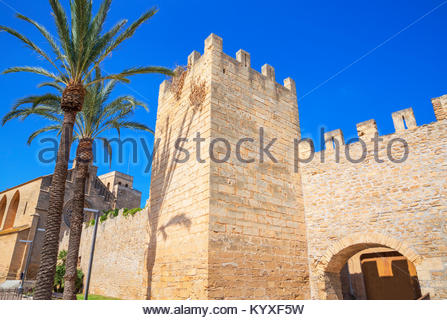 The medieval walls of Alcudia, Alcudia, Mallorca, Balearic Islands, Spain, Europe - Stock Photo