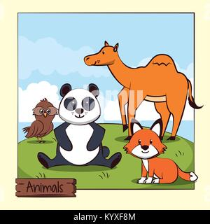 Cute animals in the jungle cartoon - Stock Photo