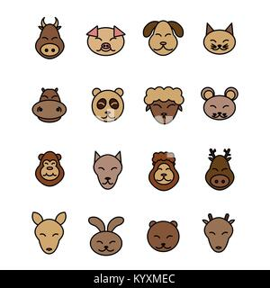 Different animals vector. Icons set brown pet. - Stock Photo