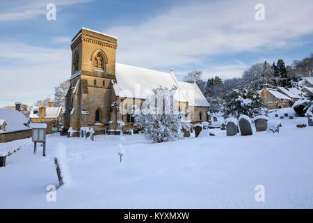 St Barnabas Church in winter snow, Snowshill, Cotswolds, Gloucestershire, England, United Kingdom, Europe - Stock Photo