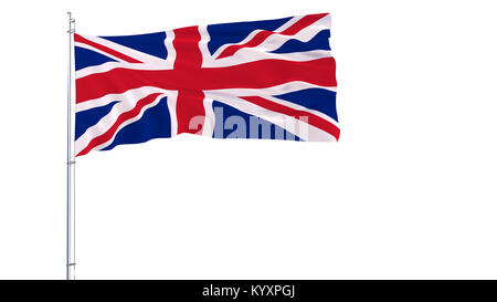 Flag of United Kingdom on a flagpole fluttering in the wind on white background, 3d rendering - Stock Photo