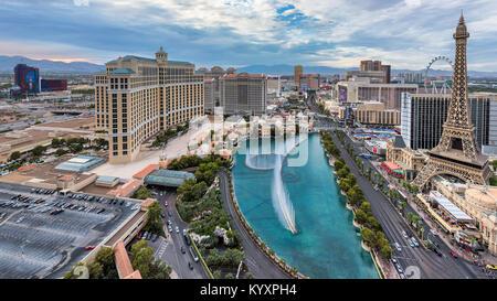 Las Vegas Strip skyline at sunset - Stock Photo