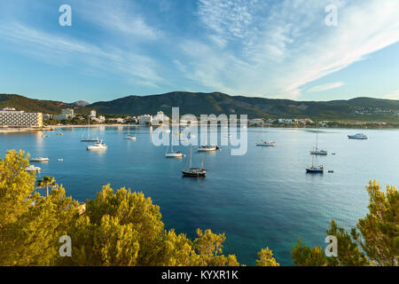 bay with yachts in Palma Spain - Stock Photo