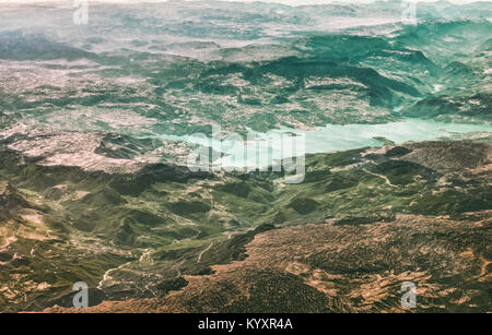 Aerial view of a beautiful lake in the mountains of southern Turkey. - Stock Photo