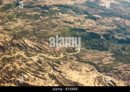 Aerial view of the mountain river Seyhan in southern Turkey. - Stock Photo