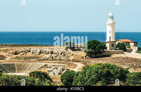 Paphos lighthouse, ancient amphitheater and other ruins of the Archaeological Park in Paphos, Cyprus. - Stock Photo