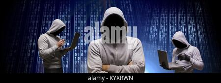 Anonymous hackers with computer code binary interface - Stock Photo