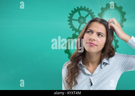 Confused woman scratching her head looking up with cogs - Stock Photo