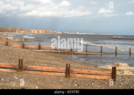 View north over a series of groynes on the beach towards Sunderland, Seaham, County Durham, England, UK - Stock Photo