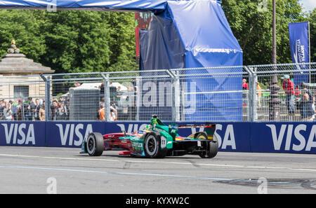 PARIS - 20 May 2017: The Formula E car of the Brazilian racing driver L. di Grassi of ABT Schaeffler Audi Sport - Stock Photo