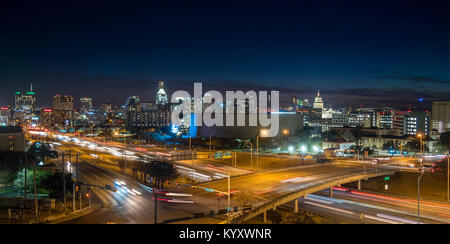 Panoramic View of Busy Austin Texas Downtown - Stock Photo