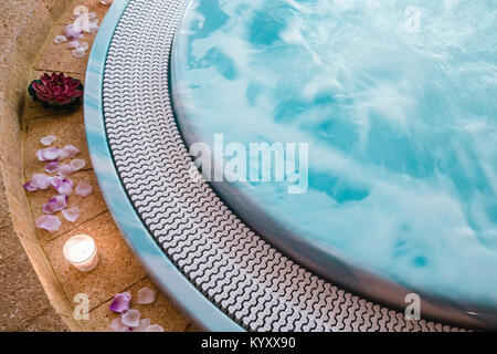 High angle view of smoke emitting from hot spring in hotel - Stock Photo