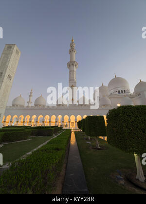 Low angle view of Sheikh Zayed Mosque against clear sky - Stock Photo