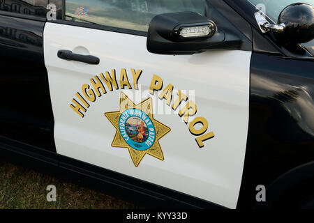 Van Nuys, CA / USA - October 23, 2016: A police car bearing the California Highway Patrol logo is shown on display - Stock Photo