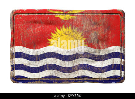 3d rendering of a Kiribati flag over a rusty metallic plate. Isolated on white background. - Stock Photo
