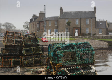 Stacks of lobster pots or creels on stone pier, the houses of St. Margaret's Hope, Orkney, and a red rowboat in - Stock Photo