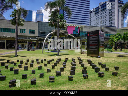 Manila, Philippines - Apr 13, 2017. View of a shopping town at Makati District in Manila, Philippines. - Stock Photo
