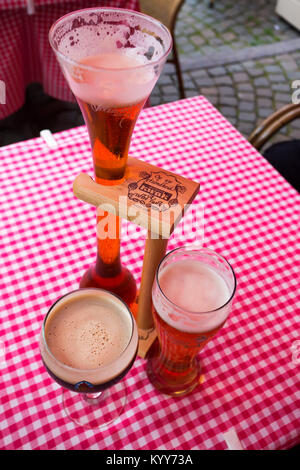BELGIUM, BRUSSELS - CIRCA JUNE 2014: different sorts of Flemish beer - Stock Photo
