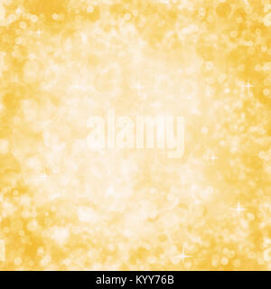Abstract Yellow Background with Sparkle and Bokeh Glitter - Stock Photo