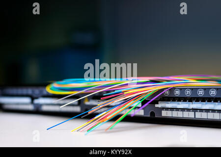 Fibre optic cables on top of patch distribution panel shelf for enterprise networking - Stock Photo