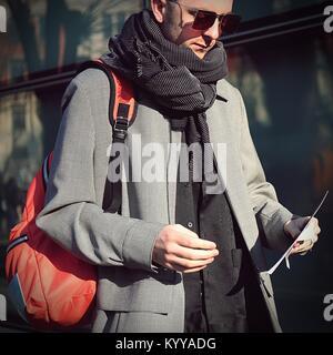 Milan, Italy. 13th Jan, 2018. MILAN- 13 January 2018 Man on the street during the Milan man Fashion Week Credit: - Stock Photo