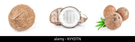 Set of coconut on a isolated white background - Stock Photo