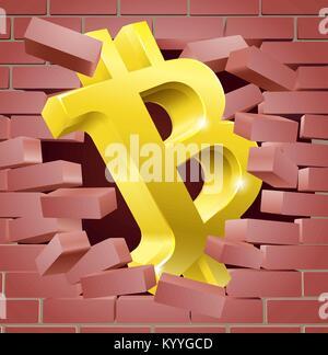 Bitcoin Sign Breaking Through Wall Concept - Stock Photo