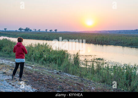 Tourist looking at sunrise over Chobe River, Namibia Botswana Africa. Natural colors, rear view. - Stock Photo