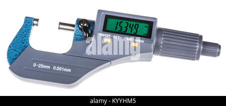 Digital micrometer for precise gauging. The measuring tool with green display isolated on white background. - Stock Photo