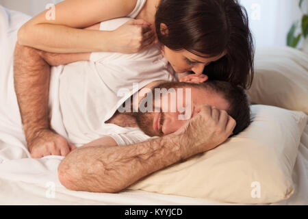 guy with girl, wake up in the morning in the bedroom