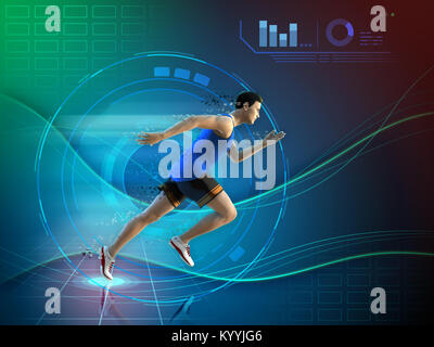 Male athlete running over a futuristic background. 3D illustration. - Stock Photo