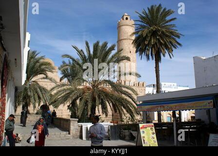 Street scene outside the Sousse Ribat, Sousse, Tunisia - Stock Photo