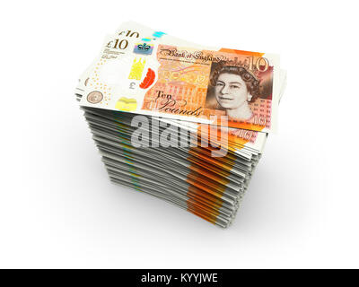 Stack of ten 10 pound notes sterling on a white background - new design 2017 - Stock Photo