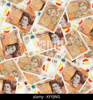 British ten 10 pound notes sterling overhead view - new design 2017 - Stock Photo