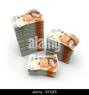Stacks of ten 10 pound notes Sterling on a white background illustrating saving or debt - new design 2017 - Stock Photo