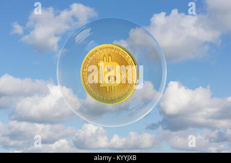 Bitcoin floating in a bubble - valuation concept - Stock Photo