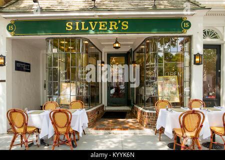 Long Island, Silvers restaurant in Southampton village, The Hamptons, New York, USA - Stock Photo
