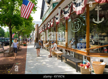 The Hamptons, Long Island - Main Street in Southampton village, New York, USA - Stock Photo