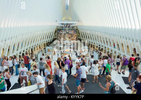 Exhibition in Westfield World Trade Center, a shopping centre at the World Trade Center, Manhattan, New York, USA - Stock Photo