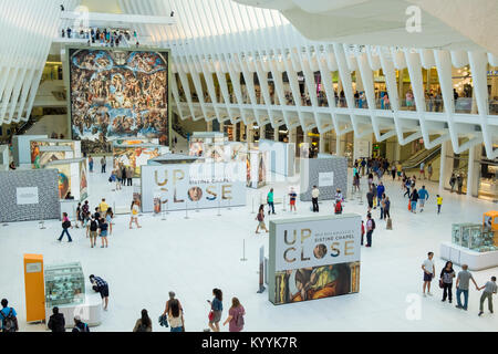 Inside Westfield World Trade Center, a shopping centre at the World Trade Center complex in Manhattan, New York, - Stock Photo