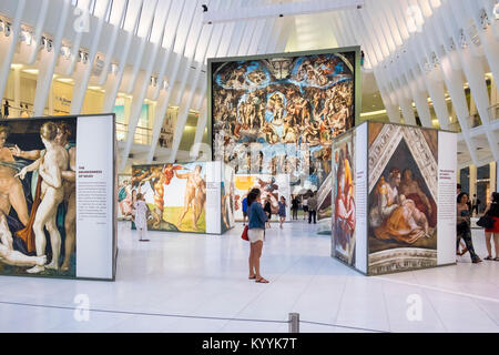Exhibition inside Westfield World Trade Center, a shopping centre at the World Trade Center complex in Manhattan, - Stock Photo