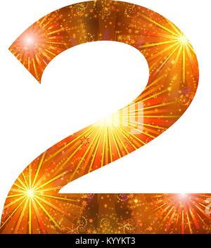Number of orange firework, two - Stock Photo