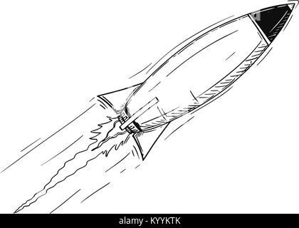 Cartoon of Flying Rocket - Stock Photo