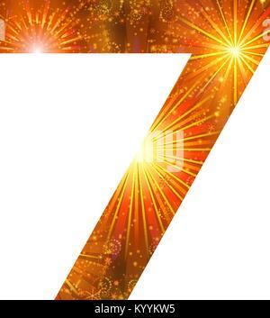 Number of orange firework, seven - Stock Photo